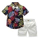 Xmiral Baby Boys Fliege Gedruckt Shirt & Einfarbig Shorts Gentleman Outfits Set Kleinkind Kid Party Hochzeit Kostüm Kleidung Set(Schwarz,3-4 Jahre)
