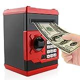 Jhua Money Banks Safe Saving Box ATM Bank Cartoon Moneda en Efectivo Contraseña Caja de Dinero electrónica Safe Locks Smart Voice Prompt Money Box para Niños (Rojo)