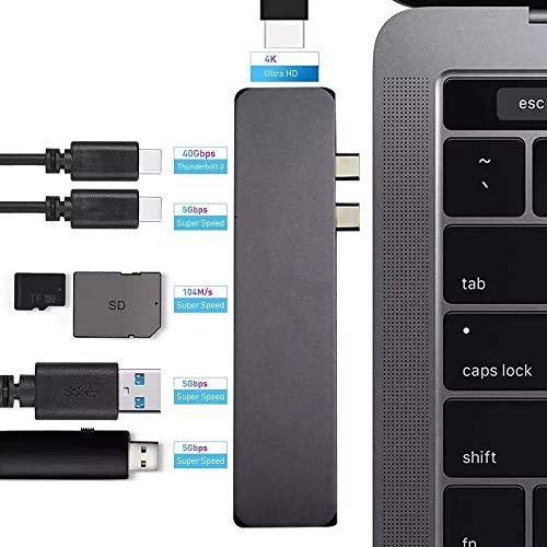 MacBook USB C Hub Adapter, 4k HDMI, Thunderbolt, USB 3.0, SD Card Reader, 7in1 Aluminium Adapter for MacBook Pro 13/15/16' 2016-20 or MacBook Air 2018 (Space Grey)