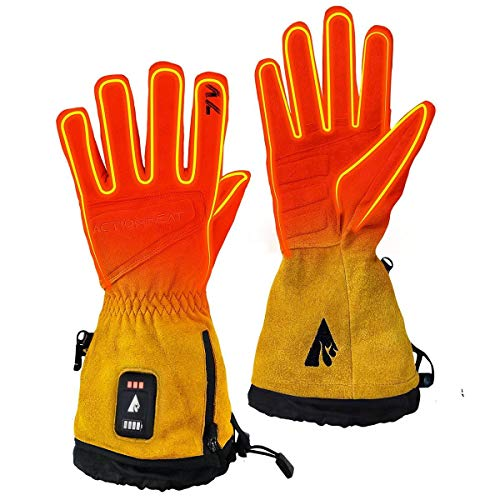 ActionHeat 7V Rugged Leather Work Gloves – Rechargeable Battery Heated Gloves for Men and Women – Winter Gloves for Cold Weather Outdoor Tough Jobs – Yellow