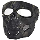 Airsoft Mask Paintball Masks with Clear PC Lens Full Face Skull Black & CP Masks Tactical Protective Gear for Halloween Paintball Cosplay Party BBs Gun Shooting Game