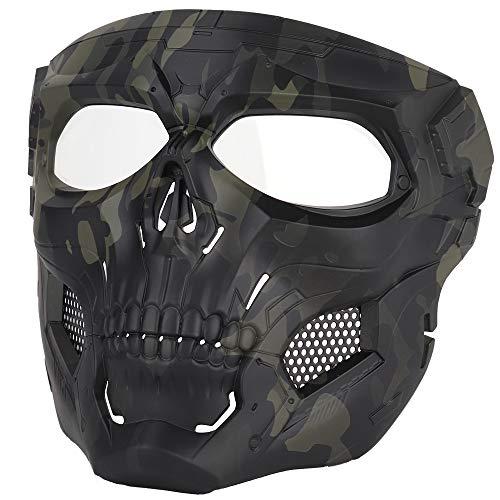 Sensong Paintball Maske mit Schutzbrille Masken Taktische Skull Schutzmaske fur Airsoft Softair Halloween CS Partyspiel Jagd Cosplay Schwarz & CP