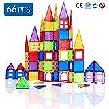 Magblock 66 PCS Magnetic Building Blocks, Magnetic Tiles for Kids Toys丨Magnet Toys Set 3D Building Blocks for Toddler Boys and Girls
