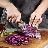 PAUDIN Damast Santokumesser 17cm - Profi Küchenmesser Messer aus Damaststahl mit Micarta-Griff - 2
