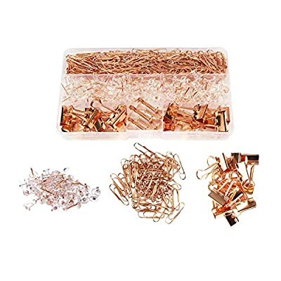 Rose Gold Desk Accessory Push Pins Binder Clips