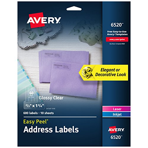 Avery Glossy Crystal Clear Return Address Labels for Laser & Inkjet Printers,  2/3' x 1-3/4' 600 Labels (6520)
