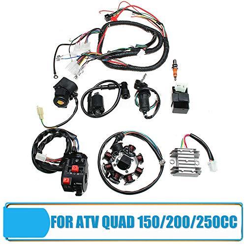 MasoAuto - Juego de arnés de cableado eléctrico, bobina de encendido CDI para ATV QUAD 150/200/250CC