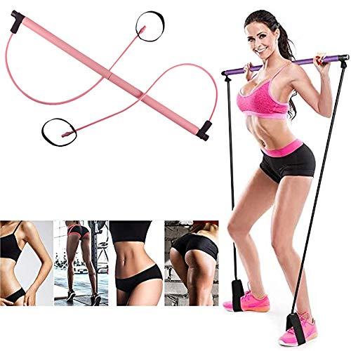 Gfbyq yoga pilates pinne yoga träningsbar med fotslinga bärbar hem gym träningspaket, för total kroppsträning (färg: Rosa)