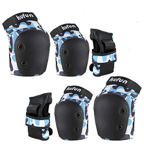 Speedsporting Protektoren Set, 6 in 1 Profi Schutzausrüstung für Kinder & Erwachsene - Verstellbar Knieschoner Ellenbogenschützer Handgelenkschoner für Inliner Skaten Roller Skateboard (Blau, S)
