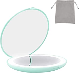 Milishow Travel Mirror with LED Lighted,1x/10x Magnification Compact Mirror, 2-Sided Illuminated Folding Round Mirror, Han...