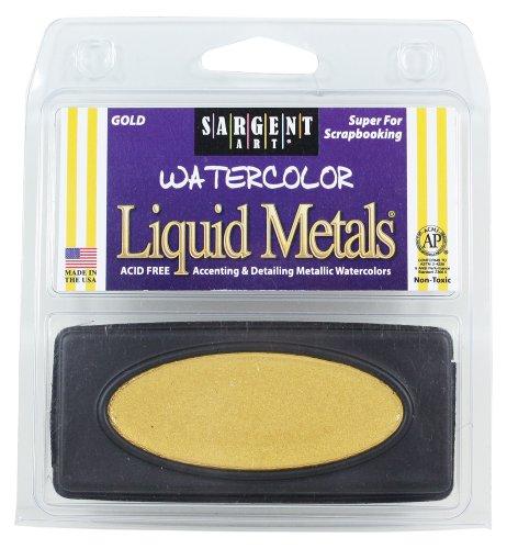 Sargent Art 66-8081 1-Count Oval Liquid Metal Watercolors, Gold