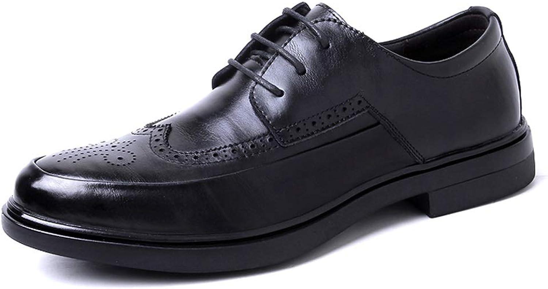 HONGKEke herrar herrar herrar Brogue bilving Casual skor for män PU läder Business Dress bröllop mode Oxfords Wingpipt Anti -Slip Lace -up Durable (Färg  svart, Storlek  6.5 M US)  motverka äkta