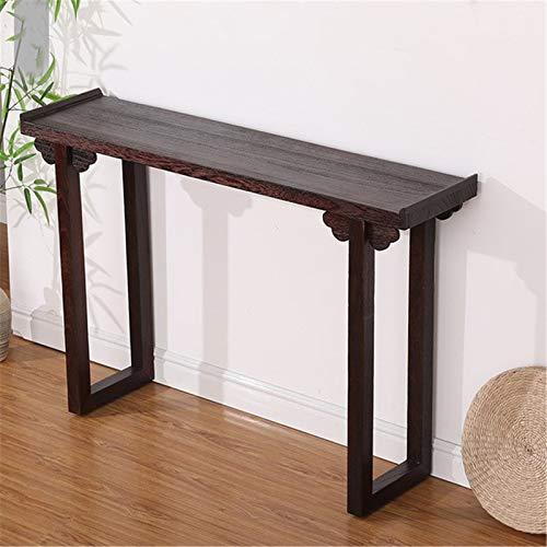 CHENSHJI Table de Salle Moderne Minimaliste Salon Etudier Vue de côté Table Table d'entrée en Bois Massif Table d'entrée (Couleur : Black, Size : 100x80x30cm)