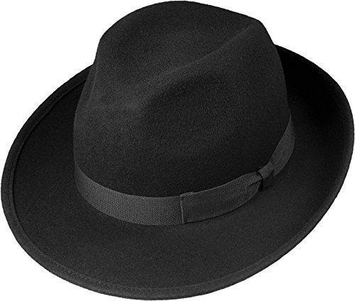 Schwarzer Wollhut in klassischer Bogart Form, Größen:58