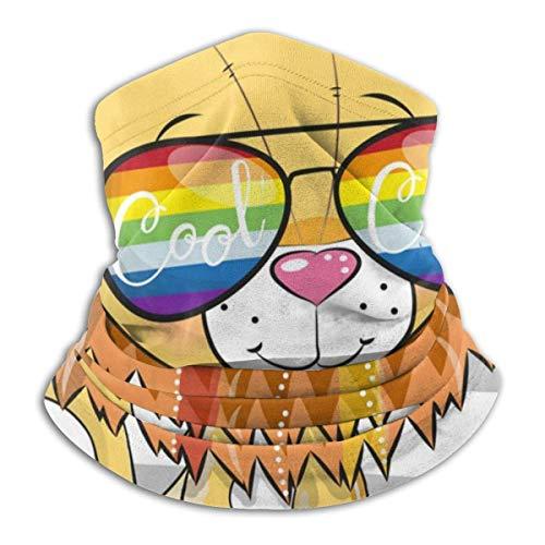 Lzz-Shop Leuke leeuw met zonnebril halswarmer - hoofdbanden sjaal hoofdwikkeling, hals gamasche pijp vissen, gezicht sport sjaal