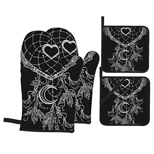WZM Juego de manoplas de horno en forma de corazón y soportes para ollas, resistentes al calor, guantes flexibles para cocina, hornear, asar y microondas
