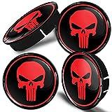 SkinoEu® 4 x 60mm Universal Tapas de Rueda de Centro Craneo Skull Punisher Tapacubos para Llantas Coche C 3