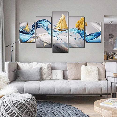 NC89 5 Piezas de Pintura de Lienzo de Barco Dorado de Onda Azul Impresiones de Carteles Decorativos de Pared Modernos para la decoración del hogar del Dormitorio de la Sala de Estar