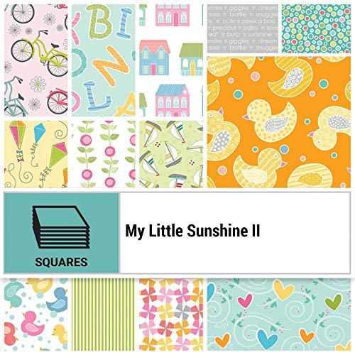 Benartex My Little Sunshine II 10インチ プレカット 正方形 コットン生地 キルティング 詰め合わせ レイヤー ケーキ チェリー ガイドリー MLY10PK