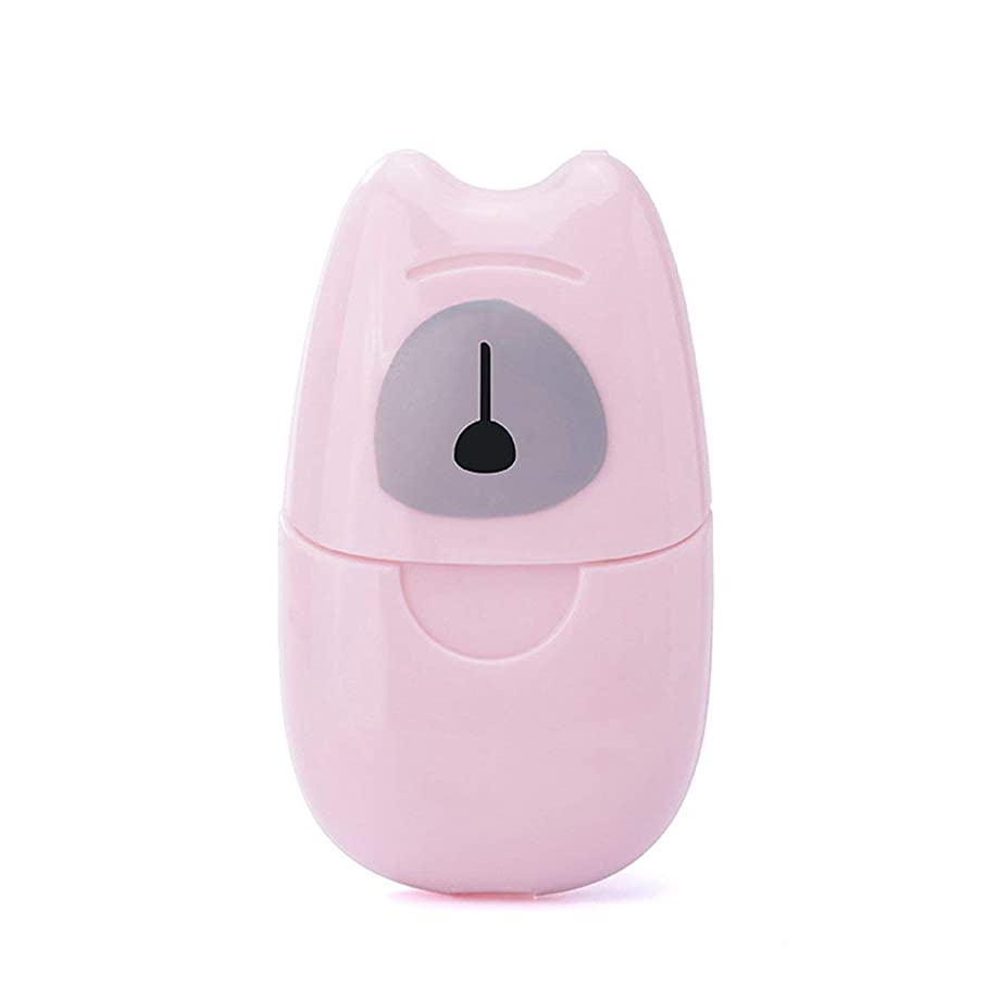 慣らすくるみ上がる箱入り石鹸紙旅行ポータブル屋外手洗い石鹸香りスライスシート50ピースミニ石鹸紙でプラスチックボックス - ピンク