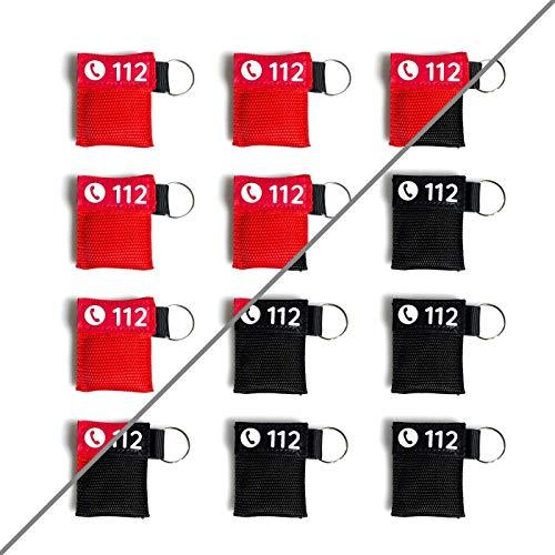 12x Beatmungsmaske Schlüsselanhänger | rot oder schwarz | FLEXEO | CPR Maske | Mund zu Mund Beatmungsschutz | Beatmungstuch | Reanimationsschutz | Erste Hilfe
