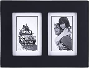 Malden Double 2x3 Picture Frame - Wide Real Wood Molding, Real Glass - Black