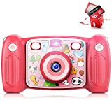 Victure Kids Camera Digital Rechargeable Selfie Action Camera 1080P HD 12MP with 2 Inch LCD Display and Shockproof Handles for Girls Boys Toys Gifts(Pink)