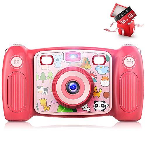 Victure Cámara Digital Recargable para niños, cámara de acción de Selfies, 1080P HD 12 MP con Tarjeta SD de 16 GB, LCD de 2 Pulgadas Juguetes, Regalos para niñas, niños