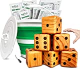 Splinter Woodworking Co. Yardzee, Farkle & 20+ Games - Giant Yard Dice Set (All Weather) with Collapsible Bucket, Lid, 5 Big Laminated Score Cards & Marker - Backyard Lawn Game - Indoor/Outdoor