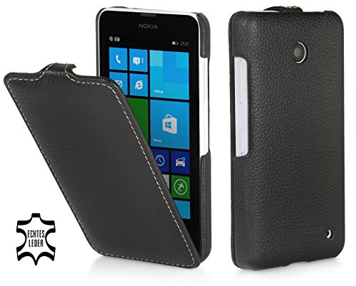 StilGut UltraSlim Hülle, Tasche aus Leder kompatibel mit Nokia Lumia 630/630 Dual SIM, schwarz