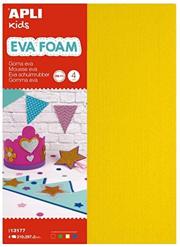 APLI Kids 13177- Goma EVA toalla rojo, verde, amarillo y azul A4 4 hojas ✅