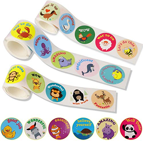 """OOTSR 294 piezas Animal Pegatinas de Recompensa, 1.5"""" Pegatina círculo pegatinas de animales de dibujos para recompensa, bolsa de regalo, álbum de recortes, 7 estilos/rollo, 3 rollos"""