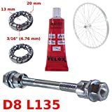 cyclingcolors Set Solid Silver Front AXLE 8 x 135 MM + Ball Bearing 3/16' + Grease Bike HUB Bike Wheel Vintage Universal Cycle Retro Classic L'EROICA Spindle Steel MTB Moutain Track SINGLESPEED