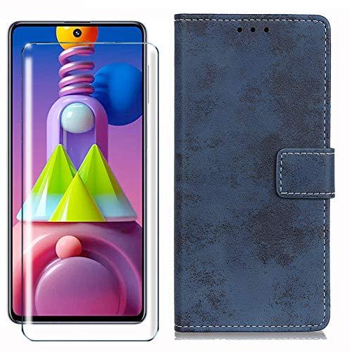 HYMY Hülle für Wiko Y80 + Schutzfolie - Blau Retro-Stil PU Leder Lederhülle Flip Schutzhülle Card Slot mit Brieftasche Handyhülle Hülle für Wiko Y80 (5.99