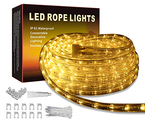 LED Rope Lights Outdoor Indoor Rope Lighting Waterproof, 110V Plug in Rope Light with Power Socket Connector Fuse Holder … (50, Warm White)