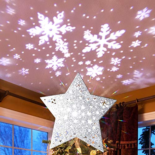 MAOYUE Christmas Tree Topper Snowflake Tree Topper Star Tree Topper with Snowflake Projector Lighted Christmas Tree Topper for White Christmas Tree Decorations, Snowflake Decorations, Silver