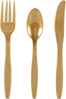 WDF 360 Gold Plastic Silverware- Disposable Hammered Gold Plastic Cutlery - Plastic Flatware inluding: 120 Gold Forks, 120 Gold Spoons, 120 Gold Knives