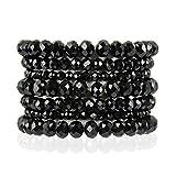 Bohemian Multi-Layer Beaded Stacking Statement Bracelets - Versatile Stretch Strand Sparkly Crystal Beads Wrap Slip-on Cuff Bangle Set (7 Layer Sparkly Beads - Black)