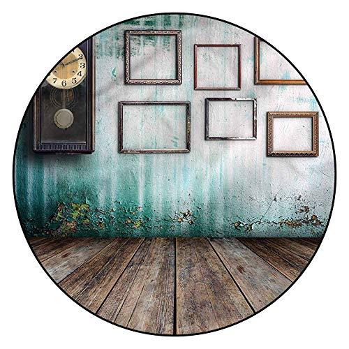 Alfombra de madera con patrón de reloj 3D, 6 pies redondos, alfombra de piso de madera con respaldo antideslizante para dormitorio, sala de estar, habitación infantil, decoración interior del hogar