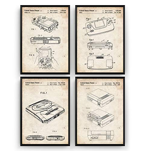 Gaming Patent Poster - Set Of 4 - Gamer Poster Gift Vintage Blueprint Retro Girls Boys Video Games Room Wall Art Bedroom Original Decor Merchandise Classic - Frame Not Included