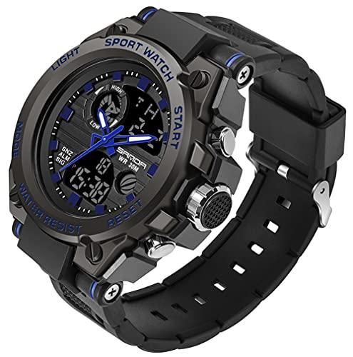 Reloj militar para hombre de deportes al aire libre, reloj electrónico táctico del ejército reloj de pulsera LED cronómetro impermeable digital analógico relojes, Azul / Patchwork, Empresarial