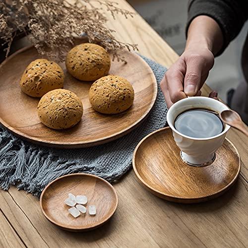 Round Solid Wood Tray Tableware Sets Trinket Dish Set Sushi Fruit Tea Tray Dessert Plates Acacia Wooden Dinner Breakfast Plates