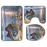 3Pcs Alfombra de baño antideslizante Asiento de inodoro Tapa Tapa Set Decoración de viaje Alfombra de baño suave antideslizante Shaman Rock Lago Baikal en Rusia Tema costero Rayos del sol Vista panorá