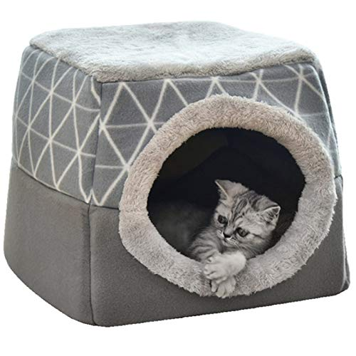 Cat Beds Pet Cat Dog Nest Dual Use Warm Soft Sleeping Bed Pad For Pet Non Slip Breathable Cat House Dog Sleeping Mat Blanket mwsoz (Color : Grey, Size : X-Large)