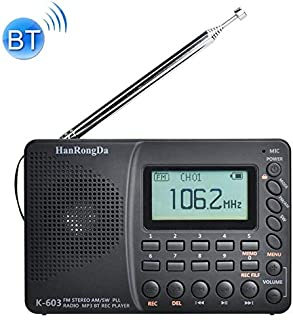 Digital Media Players K-603 Portable FM/AM/SW Full Band Stereo Radio, Support BT & TF Card (Black) (Color : Black)