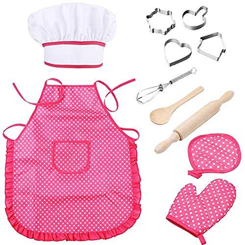 Luerme Juego completo de hornear para niños con 11 piezas Incluye delantal para niñas, gorro de cocinero, moldes, utensilios de cocina, disfraz de niño pequeño Traje de cocinero Juego de roles