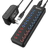 WENTER USB 3.0 Hub Aktiv, 11 Ports 36W (12V / 3A) Netzteil, USB 3.0 Mehrfach Ports Verteiler mit LED Einzelnen EIN/Aus-Schalter, USB 3.0 Hub 7 Ports Datenübertragung und 4 Ports Schnellladegerät