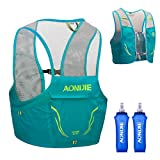 TRIWONDER Mochila de Hidratación Ligero 2,5L Superior Chaleco para Trail Running Ciclismo Marathoner Profesional Hombre Mujer (Azul Menta - 2×500ml Botella de Agua,M/L (90-102 cm))