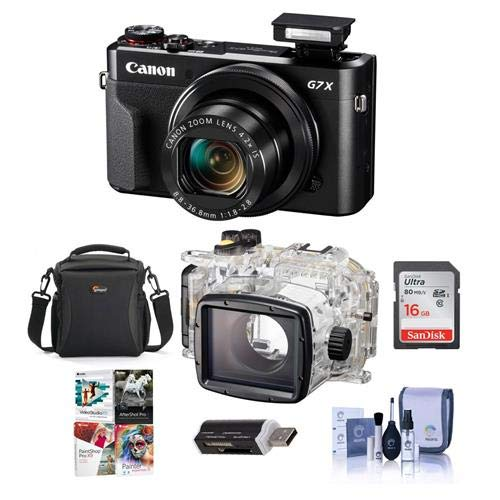 Canon PowerShot G7 X Mark II Digital Point & Shoot Camera - Bundle WP-DC55 Waterproof Case - 16mm SDHC Card, Camera Case, Cleaning Kit, Card Reader, Software Package