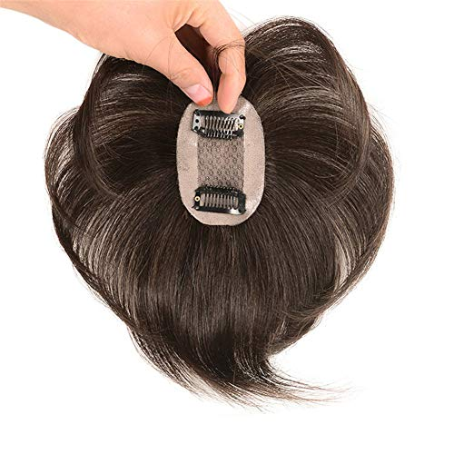 Short Straight Human Hair Toppers 18cm Hand Made Clip in Crown Hairpiece for Covering White Hair Tape Toupee Wiglet by Remeehi 5x7cm Brown